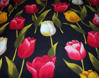Tulips Fabric Large Colorful Flowers On A Black Background By The Yard