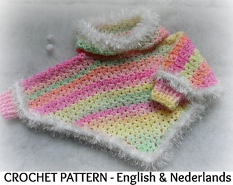 English + Dutch Crochet Pattern Baby Hooded Poncho with cuffs 0-18 months