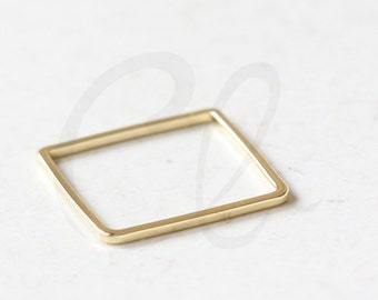 2 Pieces Premium Gold Plated Brass Base Square Blank Ring - Square 20mm (3329C-O-334)