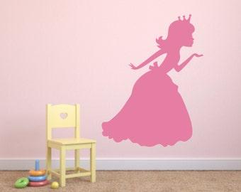 Princess Wall Decals, Princess Blowing Kiss Vinyl Wall Decal, Princess Silhouette Vinyl Wall Decal, Princess Kiss Vinyl Wall Decal