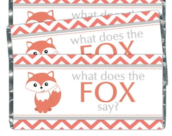 What Does the Fox Say Candy Wrappers, Birthday Party Full-Size Candy Wrappers - fit over 1.55 oz chocolate bars