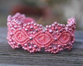 Micro-Macrame Cuff Bracelet. Modern Macrame. Pink Beaded Bracelet. Metallic Pink Beaded Cuff. Statement Jewelry. Boutique Fashion Piece.