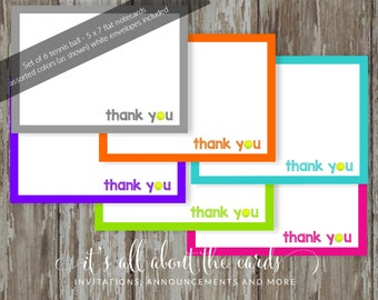 Set of 6 - assorted colors 5 x 7  FLAT Tennis 6 note cards with envelopes - Tennis thank you!