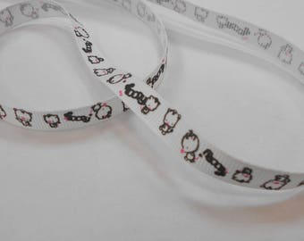 1 meter Ribbon grosgrain Ribbon 1 cm wide white color with cats pattern