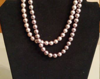 Vintage 50s grey bead double strand necklace