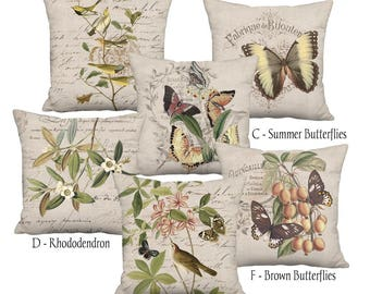 Small Pillow Cover - Pillow - Beige Grain Sack Style Birds and Butterflies Linen Cotton Farmhouse - 12x12 or 14x14 Inch