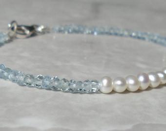 Pearl Bracelet, Aquamarine Bracelet, Dainty Bracelet, Stacking Bracelet, Blue Bracelet, Gemstone Bracelet, Skinny Bracelet