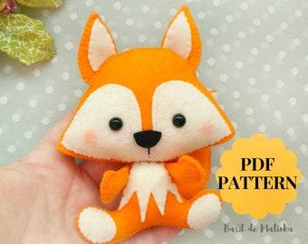Woodland Felt Fox Pattern * Make A Stuffed Fox Toy * Printable PDF Stuffed Animal Sewing Tutorial Nursery Decor toy Woodland animal pattern