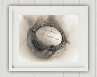 Baby Name Print, Unique Baby Gift, Personalized Baby Gift, New Baby Keepsake, Personalized New Baby, Baby Keepsake Print, Egg in Nest Print