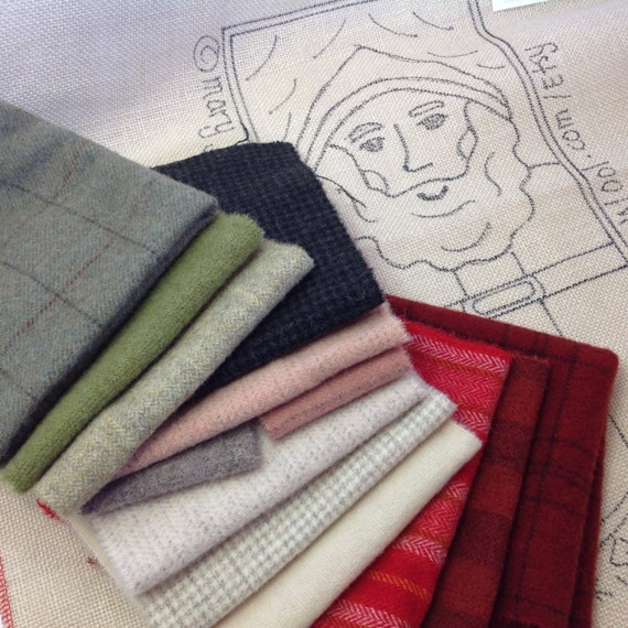 """WOOL PACK for Hooked Rug Pattern, """"Saint Nick Stocking"""", WP204, Wool for Applique and Rug Hooking"""
