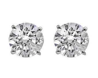 0.46CTS Round Brilliant Cut Diamond Stud Earrings, Natural Diamonds