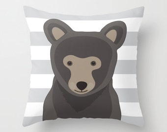 Bear Pillow With Insert With Gray and White Stripes - Woodland Animal Pillow Cover - Nursery Pillow Cover - Home Decor - Aldari Home