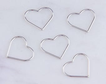 10Pcs-Large Wire Heart Link Connector,17.5mm x 15mm Silver, Gold Filled, Rose Gold Filled,Heart Connectors, Necklace Findings, CM192LC