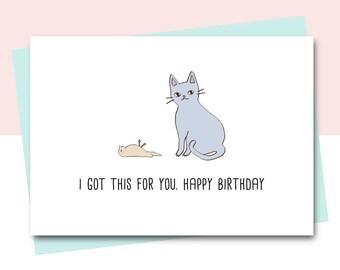 Birthday cards etsy uk funny birthday card friend birthday card cat card animal card cat lover bookmarktalkfo Choice Image