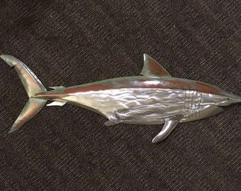 Shark Metal Fish Wall sculpture 36in long Beach Coastal Tropical Art