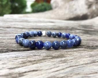 6mm Sodalite Stone Bracelet, Beaded bracelets, Beadwork bracelet, Stretch Bracelet, Gemstone Bracelet, Stone Bracelet, Women Bracelet