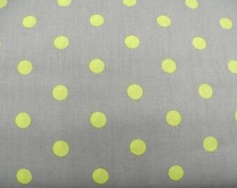grey printed cotton fabric lime green dot