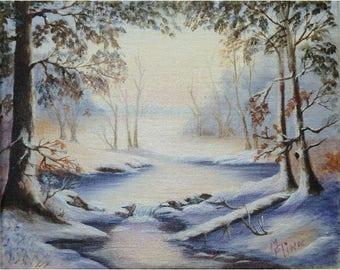 Winter Scene  in Blue Shade