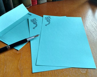 Stationery Letter Set Seahorse in Aqua 20 sheets and 10 Envelopes