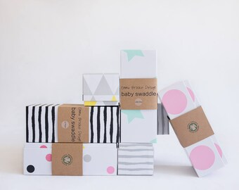 Emma Brooke Design; Buy any TWO & save; LARGE Baby Swaddle Blankets, GOTS Certified Organic Muslin Cotton with matching gift boxes