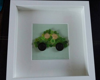 Green Car Button Picture 9'x9' (can be personalised)