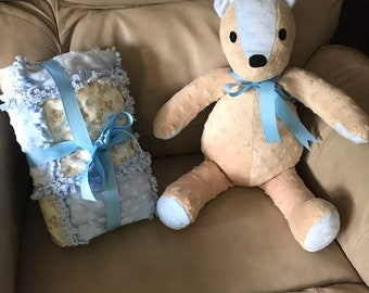 Baby Boy Rag Quilt,  Toddler Lap Quilt, Minky Teddy Bear, Baby Quilt