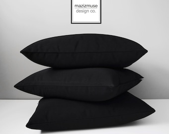 Black Sunbrella Pillow Cover, Decorative Outdoor Pillow Cover, Modern Black Pillow Cover, Solid Black Outdoor Cushion Cover, Mazizmuse