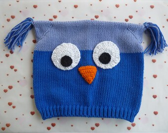 Blue OWL knit hat and crochet