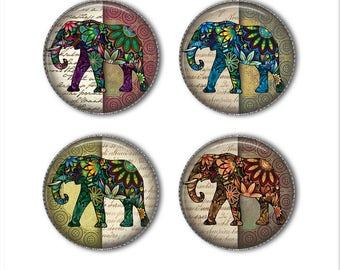 Elephant magnets or elephant pins, colorful elephants, Indian elephants, refrigerator magnets, fridge magnets, office magnets