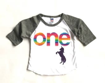 Unicorn Theme Birthday// One//First Birthday//Rainbow//Shirt//Photo Prop//Birthday Shirt//Ready To Ship