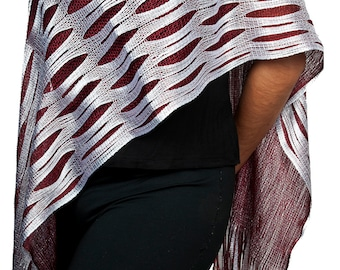 Women's New Shiny Custom Pattern Light-Weight Shimmering Fashion Fringe Scarf/Shawl/Hip Scarf (Red White Style E)