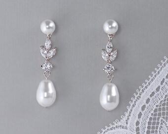 Pearl Bridal Earrings, Pearl Earrings, Wedding Earrings, Crystal Bridal Earrings, ASHLEY PPD