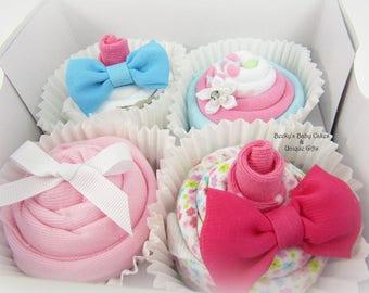 Cupcake Baby Shower, Baby Girl Gift, Onesie Cupcake, Washcloth Cupcake, New Baby Gift, Girl Baby Shower Gift, Unique Baby, Cupcake Gift