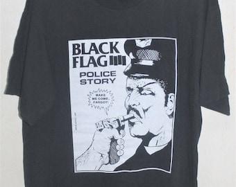 VINTAGE 80s BLACK FLAG police story sst records punk rock hardcore promo t shirt