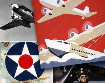 Vintage Airplanes in 2.5 inch squares -- piddix digital collage sheet 493
