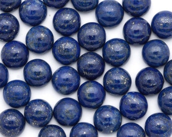 Lapis Lazuli Cabochons 8mm Round | TWO Blue Lapis Cabochons 8mm | Royal Blue High Grade Lapis Cabochons with Pyrite