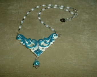 White Pearl Necklace with Blue and White Vine Triangle Pendant