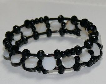 Black Multi Shape Beads with Small Flat Round Mother of Pearl Beaded Memory Wire Handmade Bracelet