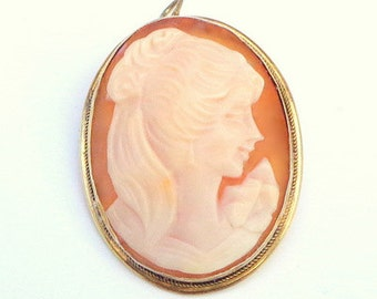 SALE, Victorian, Hand Carved Conch Shell, 800 Sterling Silver, Cameo Brooch/ Pendent, Gold Filled Frame