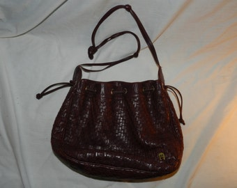 "Vintage Etienne Aigner Designer Purse / Handbag - Reddish Brown woven leather strips - 11"" X 10"" X 3 3/8""                               26-5"