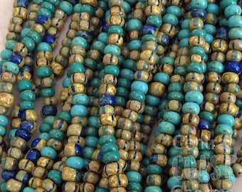"Gypsy Treasure - Aged Striped 4/0 Czech Glass Rocaille Seed Beads - 20"" strand - 5mm - Rustic Bohemian Opaque Picasso - Central Coast Charms"