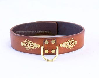 Brown & Gold Filigree Leather Collar BDSM Slave Kink (COL 125)
