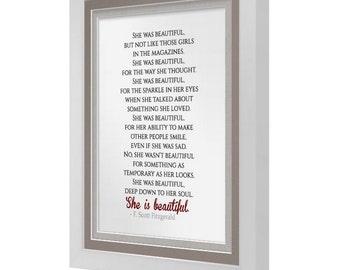 She Is Beautiful F.Scott Fitzgerald Print