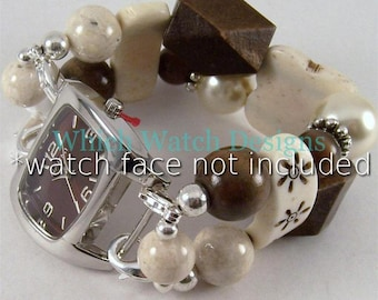 Cream Bone.. Flat Bone and Fossil Interchangeable Beaded Watch Band, Brown and Cream