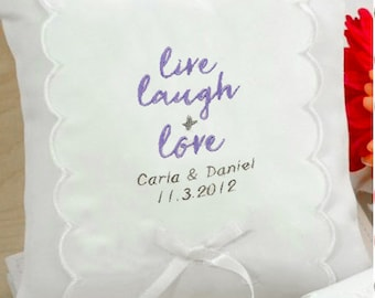 Personalized Live, Laugh & Love Wedding Ring Pillow - 75207