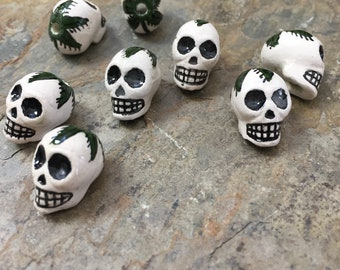 Skull Beads, Plant Leaf on Skull, White Skull Beads with Plant Leaves, 17 x 11mm,8 beads per package