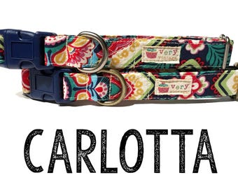 "Modern & Vintage Bohemian Floral Mexican Middle Eastern Playful Fun Dog Collar - Antique Metal Hardware - ""Carlotta"""