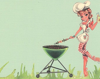 BBQ Invitation Set of 12, 4th of July, Cute Girl Chef, Girl Grilling, Chef Hat, Green BBQ, Lemonade, Linen Card Stock by MissHollyLu