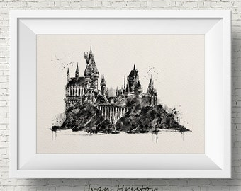Hogwarts Castle,Hogwart's Express,Watercolor,Wall Art,Nursery,Mothers Day Gift,ART PRINT,Harry Potter illustration,Wall Art,Home Decor,Gift