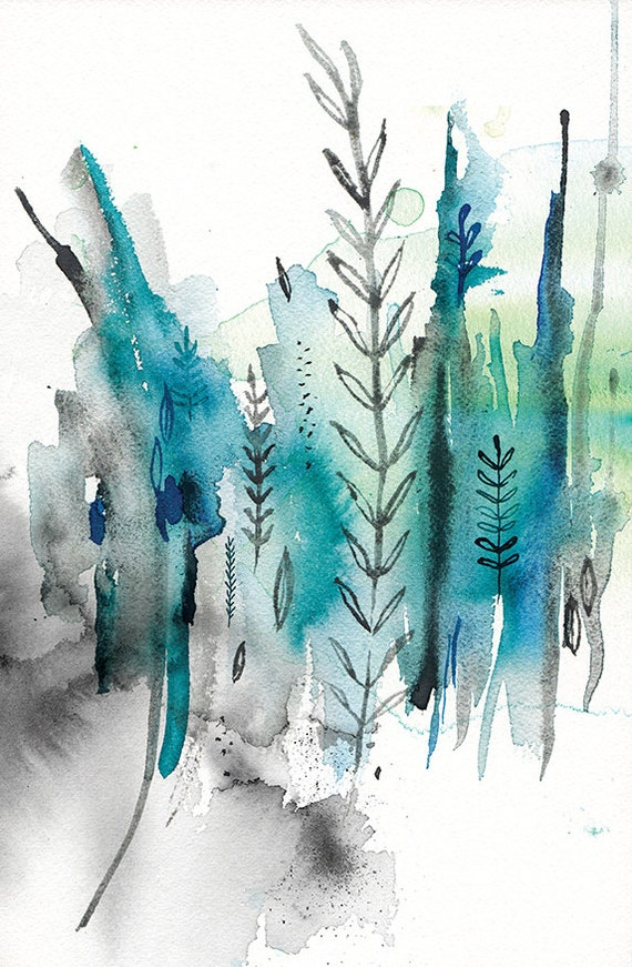 Nature In Blue No.2 Wall Art Print abstract illustration in blue ink